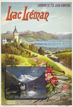 on the bonny bonny banks of Lac Leman ❤️ Airline Travel, Travel And Tourism, Vintage Advertisements, Vintage Ads, Evian Les Bains, Fürstentum Liechtenstein, Stations De Ski, Tourism Poster, Vintage Travel Posters