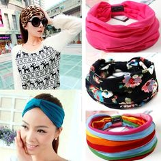 Apparel Accessories Fashion Wide Patchwork Cotton Headband For Women Lady Plain Fabric Yoga Sport Elastic Hairband Turban Headwrap Hair Accessories Girl's Hair Accessories