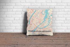 Map Throw Pillow of Copenhagen Denmark - Diner Retro - Copenhagen Map Art