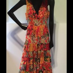 Beautiful fully lined dress. Lg Very colorful. Elastic waist. Fully lined beautiful summer dress. Lovely print Etc Dresses Maxi