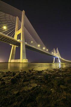 Vasco da Gama Bridge by night... by Rui Catarino