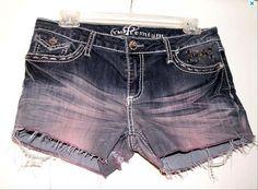 Denim Shorts Distressed & Destroyed PINK Fade Rhinestone Size 9 Low Waist 34. $19.50, via Etsy.