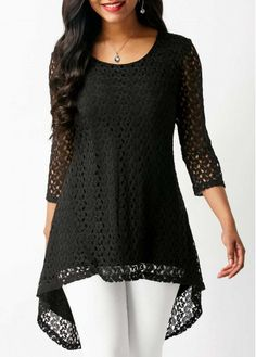 Three Quarter Sleeve Asymmetric Hem Black Lace Blouse - All About Pakistani Fashion Casual, Indian Fashion Dresses, Stylish Dresses For Girls, Stylish Dress Designs, Casual Skirt Outfits, Casual Dresses, Frock Fashion, Fashion Outfits, Trendy Tops For Women