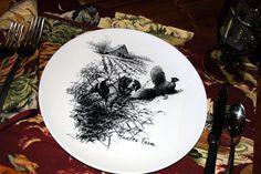 "Brittany Spaniel and Rising Pheasant 10"" Melamine Plate. $18.00, via Etsy."