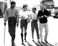 A STROLL ON THE SAMUEL GOLDWYN LOT - Sidney Poitier and Sammy Davis Jr. of PORGY & BESS with Tony Curtis & Jack Lemmon of SOME LIKE IT HOT - 1959