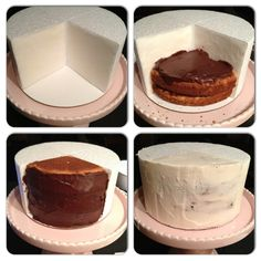 Part 1 Step 1.  Cut out a section from the styrofoam dummy for the cake.  Ensure that the cake and styrofoam don't touch. I covered the styrofoam with parchment and used Crisco to stick them together.  Steps 2 & 3 - fill the section with the cake and icing of your choice.  Step 4 - Crumb coat the entire tier with buttercream. This will help the fondant stick and will also prevent the dark chocolate from showing through the white fondant.  Place in the fridge until hardened.