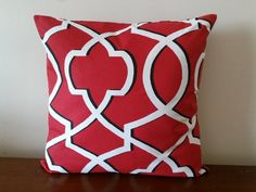 Red Pillow Cover Red Geometric Pillow Cover by CleusaSordiDecor