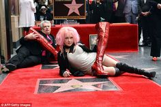 Girls just want to have fun! Pink-haired Cyndi Lauper, 62, hugs it out with Sharon Osbourne as the Eighties icon gets star on Hollywood Walk of Fame   Daily Mail Online