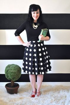 Black and White Polka Dot Skirt full gathered and pleated Mega Dot Katie skirt made to your measurements