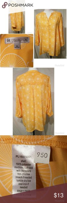 """Bright Yellow Retro Bicycle Blouse Size XL Fun and bright, yellow button down half way, women's blouse has bicycle motif and 3/4 length sleeves. Shirt is EUC condition, no stains rips, or tears. Size is Xlarge and brand is DE Collection. Measurements taken front only shirt lying flat: Underarm to underarm: 23"""" Waist: 23"""" Length Top to Bottom: 27"""" DE Collection Tops Blouses"""