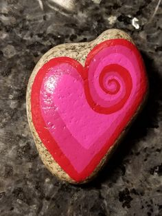 Valentine's heart painted rock