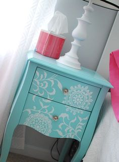Love this quirky blue up cycled side unit x