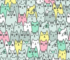 Bright cats pattern BIG scale fabric by kostolom3000 on Spoonflower - custom…