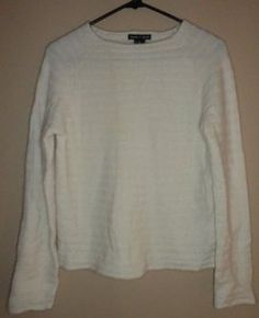 $23.95 Women's Deane & White Lambswool Blend Cream Stripe Ribbed Sweater Size: Small