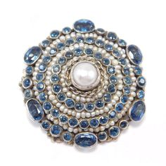 Victorian Austro Hungarian Seed Pearl Synthetic Sapphires Pendant Brooch Silver