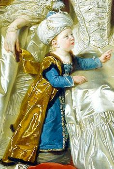 Frederick, Duke of York, 2nd son of George III and Queen Charlotte, in his costume a la Turque. Detail from portrait of Queen Charlotte and her two eldest sons, c.1765, by Johann Zoffany.