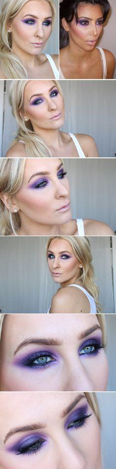 Dagens makeup – Kim kardashian purple eye makeup | Helen Torsgården – Hiilens sminkblogg