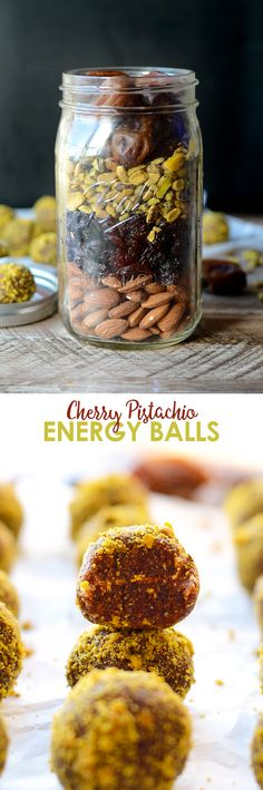 Give the gift of homemade this holiday season and layer up the ingredients for these delicious Cherry Pistachio Energy Balls in a your favorite mason jar!