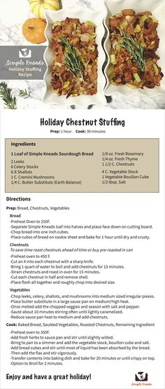 10% off now with coupon code: thanksgivingmadesimple                         Simple Kneads' Holiday Chestnut Stuffing. A healthy and vegan option perfect for any family gathering! So good that you can't even tell it's GF. A dish you will love making and everyone will love eating.