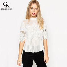 >> Click to Buy <<  spring and summer Woman lace shirt Hollow Fashion Casual short-sleeved cotton blouses Shirt female solid Floral lace Tops #Affiliate