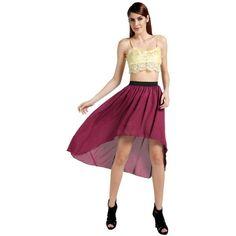 ACEVOG® Women's Stretch Waist Irregular Chiffon Dress Midi Skirt 4... (34 CNY) via Polyvore