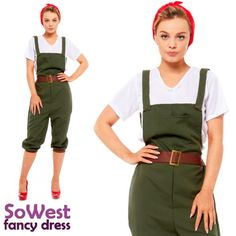 Dungaree's complete with overalls, top and headscarf Comes in 5 sizes Size UK Bust Waist Small – – Medium – – Large 12 – – XL XXL – – Dungarees, Overalls, Girl Costumes, Halloween Costumes, Uk Parties, Land Girls, Ladies Fancy Dress, Halloween Fancy Dress, 1940s Dresses