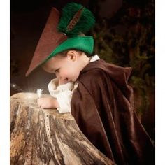 Robin Hood Costume - Toddler Size. High quality hooded suede cloth cloak and matching hat. Fits most children ages 1-3. Made in USA. From Bella Luna Toys.
