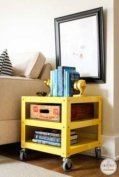 A small cart on wheels can be great for a college dorm room as an end table, nightstand, or portable workspace