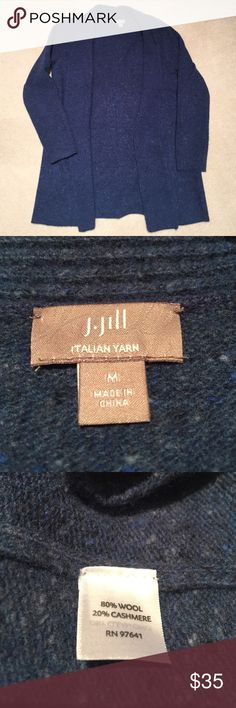 J.Jill wool/cashmere blend cardigan Beautiful soft and cozy. Only flaw is a small hole in left upper collar, not noticeable while wearing (see pic). No other flaws. J. Jill Sweaters Cardigans