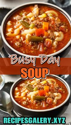 Busy Day Soup >> for complete recipe please click Crockpot Recipes, Soup Recipes, Dinner Recipes, Cooking Recipes, Healthy Recipes, Cabbage Roll Soup, Lentil Stew, Soup And Sandwich, Soup And Salad