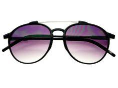 Stylish Retro Vintage Round Sunglasses Black Gradient Lens R1691
