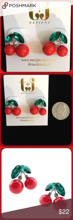 2 LeftCherries with Rhinestones Earrings Super cute red  cherry earrings with green and white rhinestones. 18K gold plated, nickel and lead free. Great quality earrings at a great price. Price Firm T&J Designs Jewelry Earrings