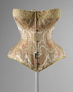 Corset - It is a type of shape wear. Corsets during this period became less confined, stopping at the bosom; This particular corset is dated to is from France, and is made of silk. 1890s Fashion, Victorian Fashion, Vintage Fashion, Victorian Era, Victorian Women, India Fashion, French Fashion, Retro Fashion, Korean Fashion