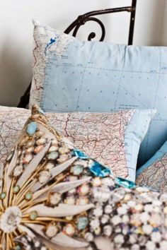 map and crystal pillows! by selena