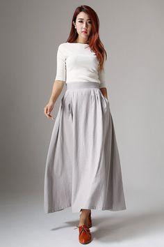 linen skirts | Navy Linen Maxi Skirt - Skirts - Women - BHS ...