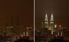 Montagem mostra Torres Petronas, em Kuala Lumpur, na Malásia, durante e antes a Hora do Planeta; cidades por todo o mundo apagaram as luzes em ato contra aquecimento global