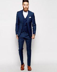 Men Navy Blue Suit (Jacket+Pants+Vest))