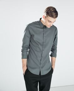 ZARA - MAN - FANCY WEAVE SHIRT WITH CONTRAST
