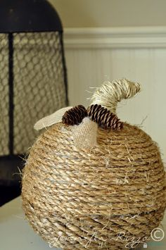 How to make a Twine-wrapped pumpkin and add a stem....