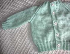 Baby Raglan Sweater. This sweater is so easy to knit, no-fail design, size is determined by the yarn used.