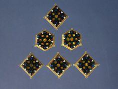 Six Plique Enamel BezelsParis, ca. 1300 Translucent and Opaque Plique Enamelson cloisonné gold