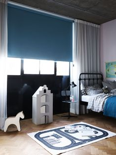 Ocean blue blackout roller blind, children's bedroom. You're busy coming up with… - Modern Living Room Decor, Living Spaces, Bedroom Decor, Roller Blinds, Other Rooms, Window Coverings, Decoration, Kids Bedroom, Ramen