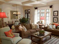 Lovely Living Room With Brown Couches More