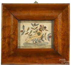 Pennsylvania pen and ink fraktur reward of merit, early 19th c., of a bird with a berry branch - Price Estimate: $500 - $800