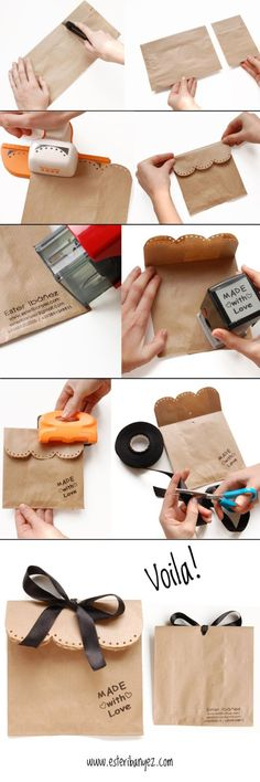 Idea semplice e carina, per il vostro packaging. Simple brown paper bag packaging.