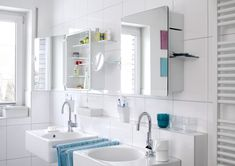 bright-bathroom-interior-decoration-with-amazing-twin-mirror-cabinets-storage-set-over-double-square-sink-using-stainless-curve-faucet
