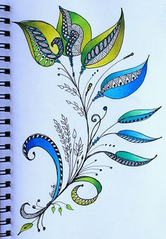 Art Journal - Leafy Elegance...Love the colour shading, detail of penwork and overall simplicity.http://www.pinterest.com/pin/371898881700092830/