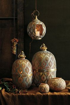 Best Outdoor Hurricanes & Lanterns: Dotted Porcelain, Teak, Glass & Metal — Maxwell's Daily Find from Anthropologie Outdoor Candles, Home Candles, Hurricane Lanterns, Candle Lanterns, Metal Lanterns, Large Lanterns, Moroccan Decor, Moroccan Style, Moroccan Lighting
