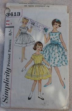 1950s Vintage Girls Party Dress Pattern with Full Skirt and Slim Bodice- Simplicity 3413-  Girl Size 7
