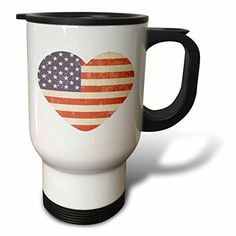 YuieKim American Flag Heart Patriotic Usa Art Stainless Steel 14oz Travel Mug Coffee Mug * Check out the image by visiting the link. (This is an affiliate link) #TravelMugs
